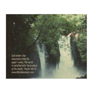 Banias Waterfall and Psalm 104:13 Wood Wall Art