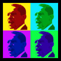 Barack Obama in Living Color (Foursquare Button) zazzle_button