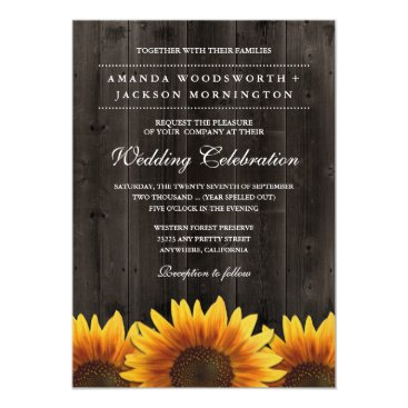 Barn Wood   Rustic Sunflower Wedding Invitations