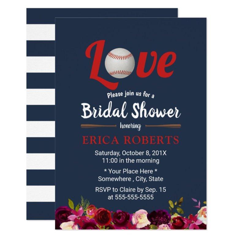 Baseball Love Burgundy Floral Navy Bridal Shower Invitation