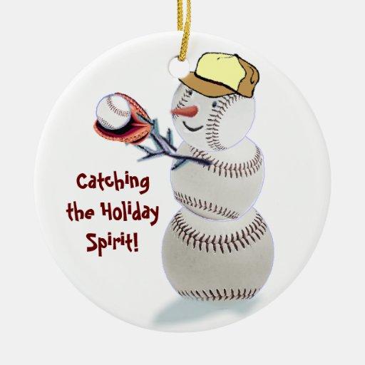 Baseball Snowman Christmas Gifts Ornament Zazzle