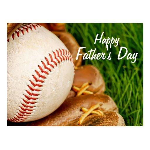 Baseball with Glove Happy Father's Day Postcard | Zazzle