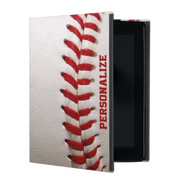Baseball with Red Stitching and Personalized Name iPad Cover