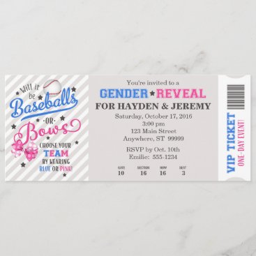 Baseballs or Bows Gender Reveal Ticket Style Invitation