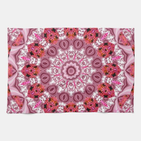 Basket of Lace, Abstract Red, Pink, White Mandala Kitchen Towel