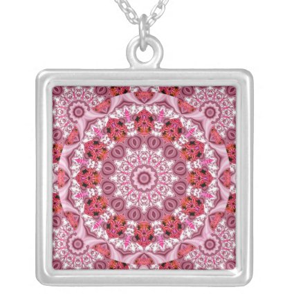 Basket of Lace, Abstract Red, Pink, White Mandala Necklace