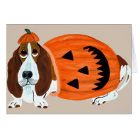 Basset In Pumpkin Suit Card