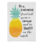 ❤️ Be a Pineapple Inspirational Watercolor Typography Poster