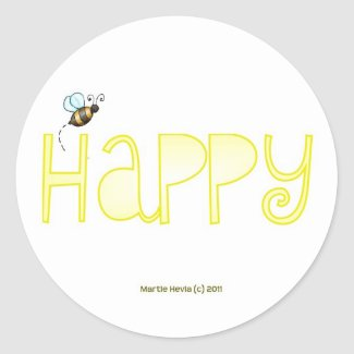 Be Happy Round Sticker