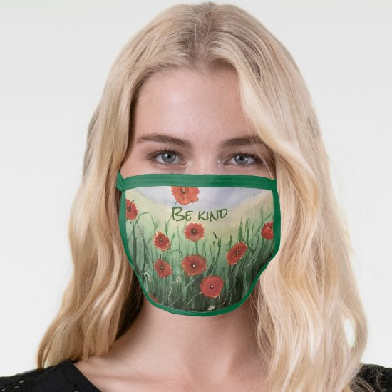 Be Kind Red Poppy Painting AllOver Print Face Mask