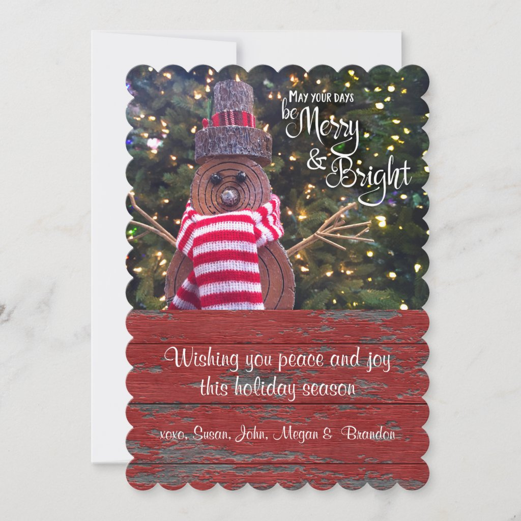 """Be Merry & Bright"" Cute, Rustic Log Snowman Flat Holiday Card"