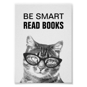Be smart read books poster with funny cat photo