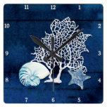 Beach Blue Starfish Nautilus Coral Sea Watercolor Square Wall Clock