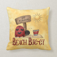 Beach Bug-gy Throw Pillow