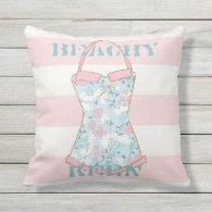 Beach House Retro Swimsuit and Pink Cabana Stripes Outdoor Pillow