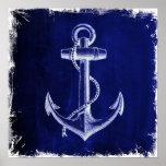 beach navy blue coastal chic nautical  anchor poster