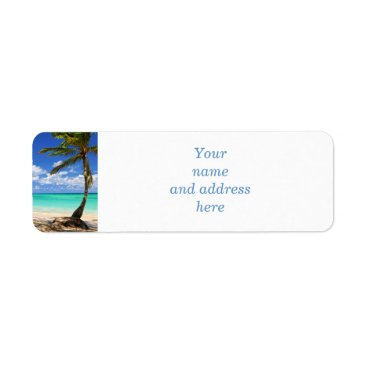 Beach of a tropical island label