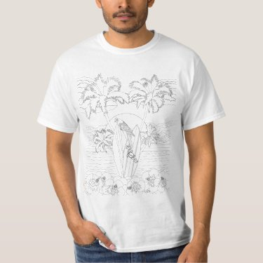 Beach Surfboards Adult Coloring Shirt