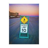 Beach Traffic Signs on Daytona Beach at Dawn II Gallery Wrapped Canvas
