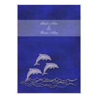 Beach wedding elegant dolphin blue card