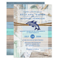 Beachfront Dolphin Wedding Card
