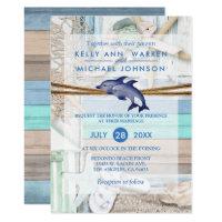 Beachfront Dolphin Wedding Card