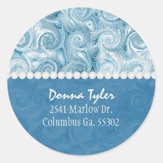 Beachy Blue Swirls: Address Stickers