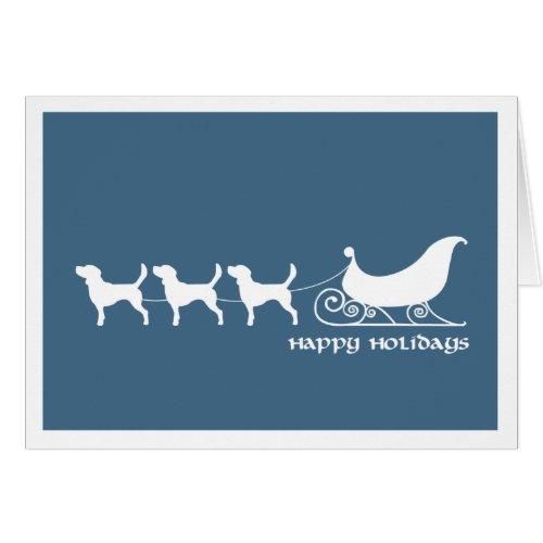 Beagles Pulling Santa's Sleigh Greeting Cards