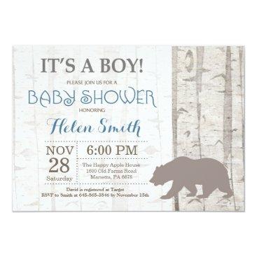 Bear Boy Baby Shower Invitation Rustic Woodland