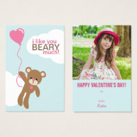 Bear with Balloon Kids Classroom Valentines Business Card