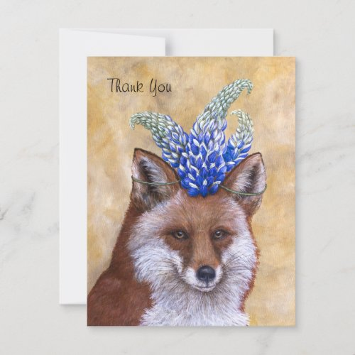 Beatrice the Fox thank you flat card