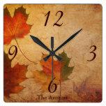 Beautiful Autumn Theme Square Wall Clock