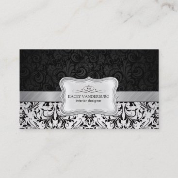 Beautiful Black & White Damask Interior Design Business Card