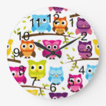Beautiful Colorful Custom Owl Clocks