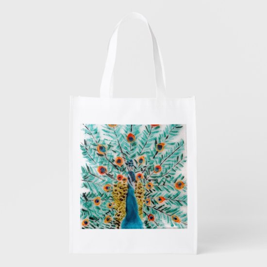 Beautiful Emerald Green and Turquoise Peacock Reusable Grocery Bag