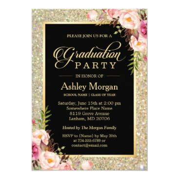 Beautiful Floral Gold Sparkles Graduation Party Card
