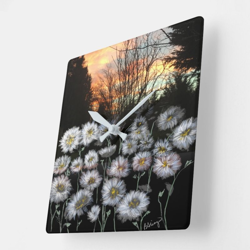 Beautiful, Fresh Daisies Against A Winter's Sunset Square Wall Clock