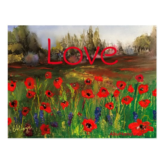 Beautiful Love of Poppies Spread The Love Postcard