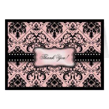 Beautiful Pink and Black Damask Thank You Card