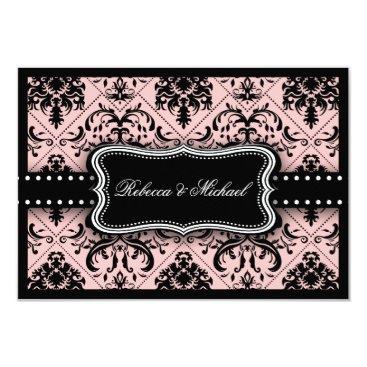 Beautiful Pink & Black Vintage Damask RSVP Cards
