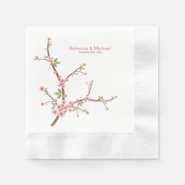 Beautiful Pink Plum Blossom Paper Napkin