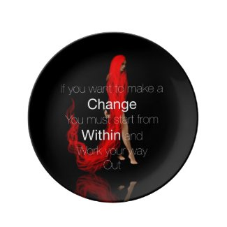 Beautiful (RED) Art/Beautiful Word Porcelain Plate
