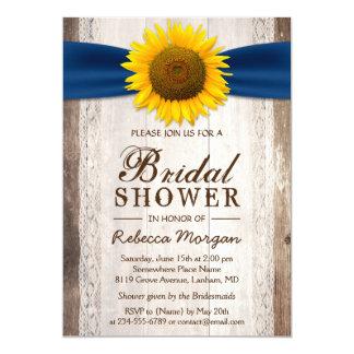 Beautiful Rustic Sunflower Ribbon Bridal Shower Card