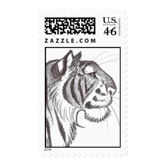 Beautiful Tiger drawing postage stamp stamp