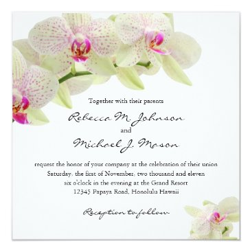 Beautiful White and Hot Pink Orchids Invitation