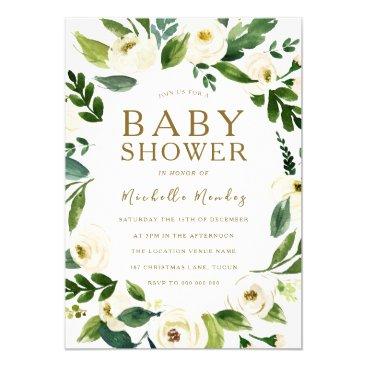 Beautiful White Floral Wreath  Neutral Baby Shower Invitation