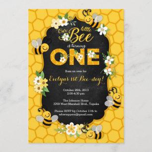 bee birthday invitations zazzle
