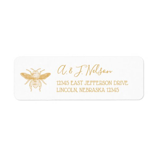 Bee and Golden Honeycomb Pattern Label