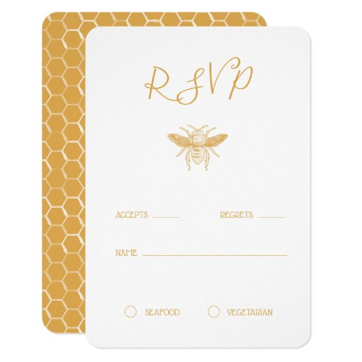 Bee and Golden Honeycomb Pattern RSVP Invitation