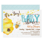 Bee Baby Shower invitation, Boy Invitation